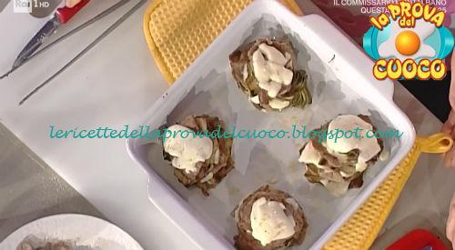 Torrette di carciofi e carpaccio con stracchino ricetta Moroni da Prova del Cuoco