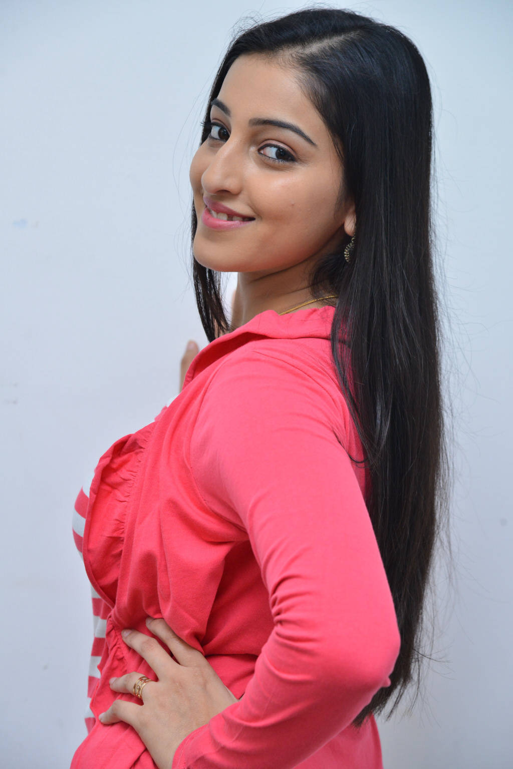 Actress Mouryaani In Pink Top Jeans At Movie Interview