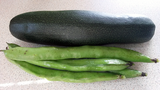 Broad beans and courgette from the veg patch.
