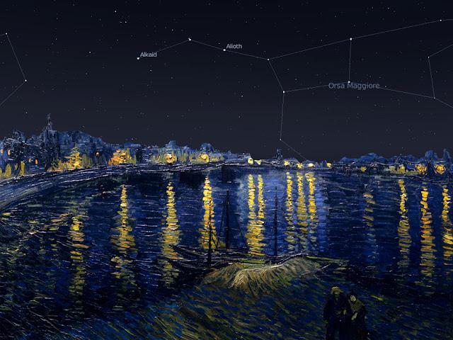 La notte stellata sul Rodano il 25 settembre 1888 alle ore 22;30