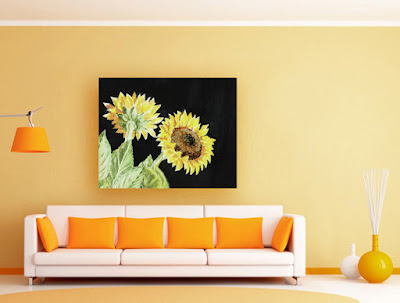 Sunflowers Watercolor Painting on Black artist Irina Sztukowski