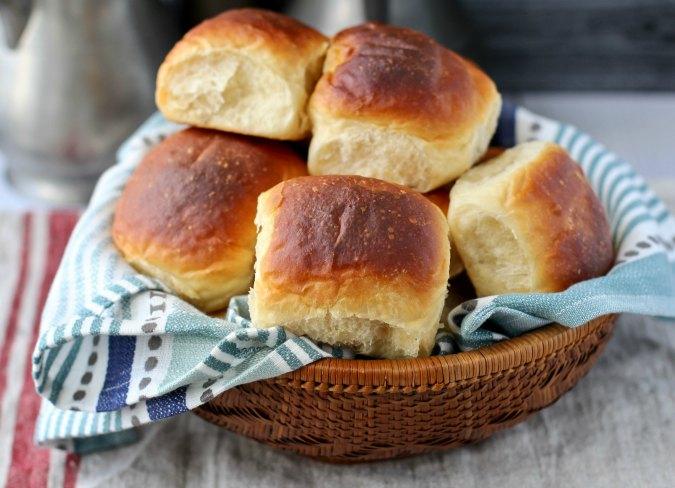 Par-baked dinner rolls in a basket