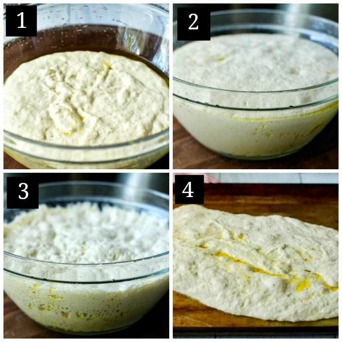 Step by step of making pizza dough
