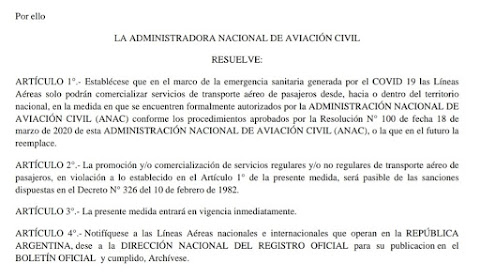 Resolución de la ANAC que prohíbe la venta de vuelos al exterior