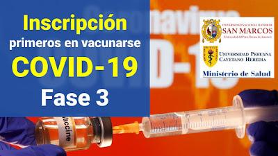 Inscripcion para ser primeros en colocarse la vacuna contra el COVID-19 fase 3