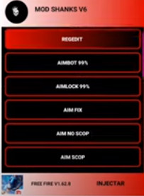 APK Regedit Mod Shanks V6 Aimlock Aimbot Aimscop Antena Fix Lag Free Fire