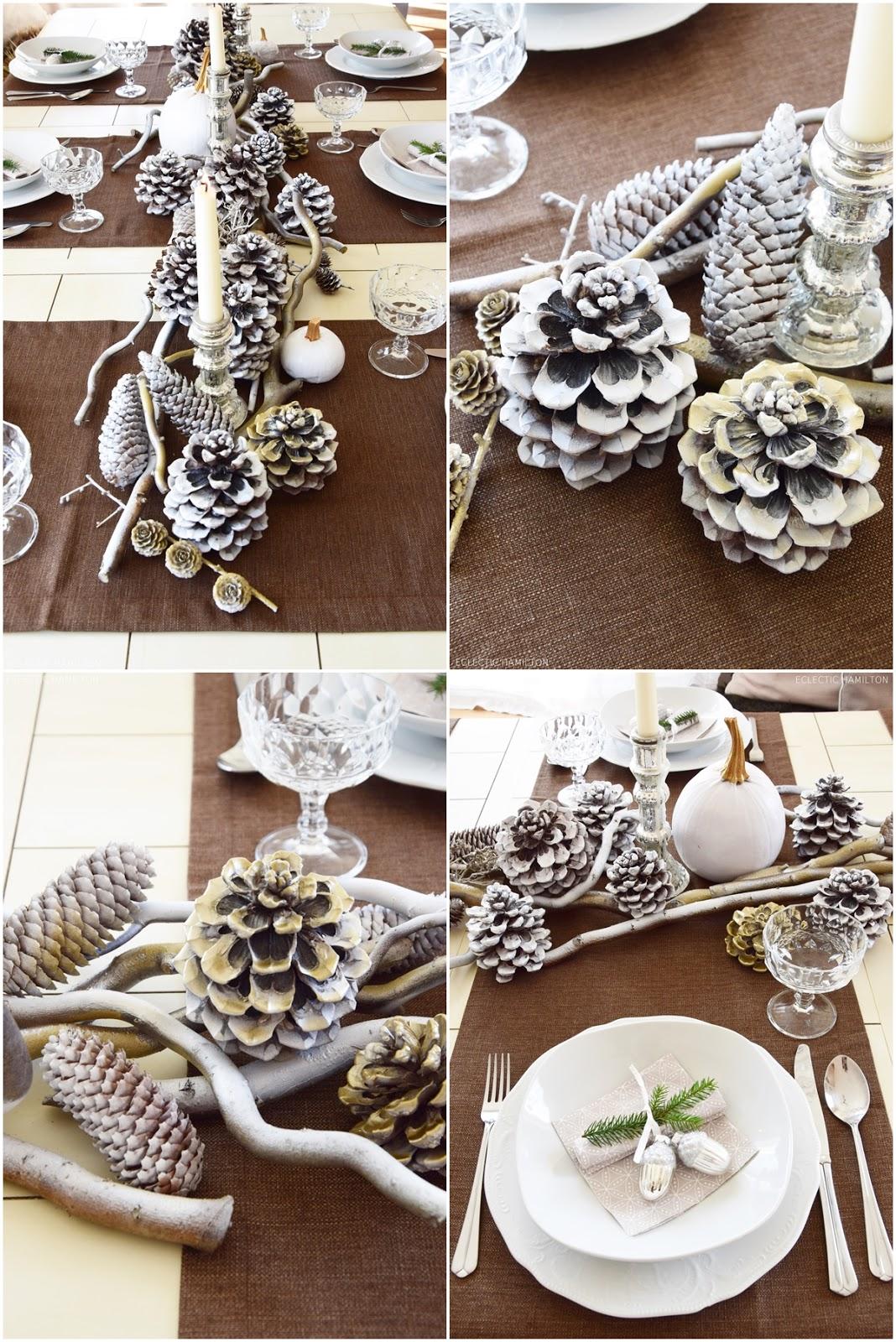 Tischdeko Für Winter Und Weihnachten Mit Natur. Dekoidee Naturmaterialien:  Kürbis Zapfen Äste, Deko
