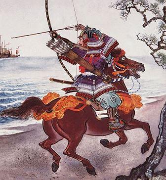 samurai berkuda dengan busur dan panah