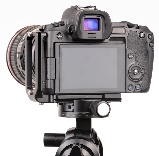 Sunwayfoto PCL-R L bracket on Canon EOS R rear view