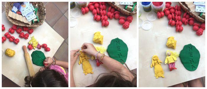 actividad motricidad con plastilina ecológica natural y sellos letras lectoescritura