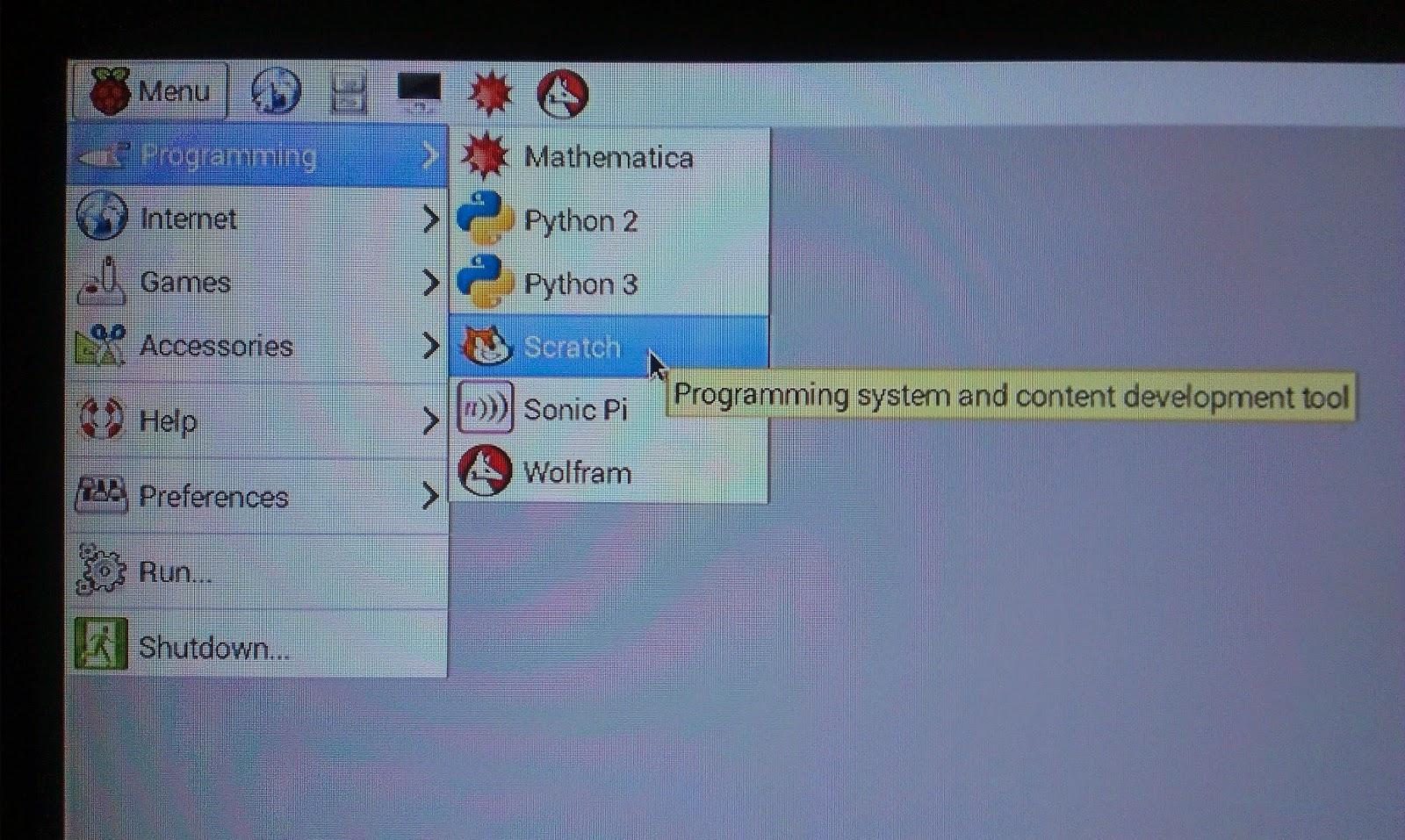 Study Raspberry Pi: Scratch - visual programming language