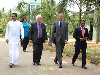 Sujeewa Senasinghe - State Minister of International Trade,  H.E. Thorbjørn Gaustadsæther, the Ambassador of Norway,  Dagfinn Andersen - President & CEO Jiffy International AS and  Sandeeptha Gamalath -Managing Director, Jiffy Products Sri Lanka.