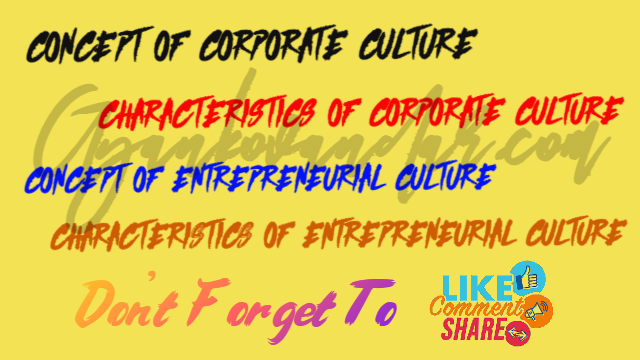 Corporate Culture | Entrepreneurial Culture | Characteristics of Corporate Culture | Characteristics of Entrepreneurial Culture