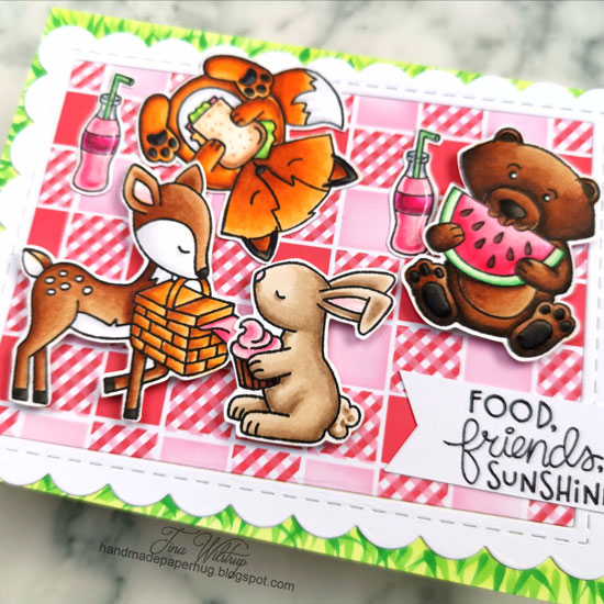 Woodland Picnic Card by January Guest Designer Tina Wilstrup | Woodland Picnic Stamp Set and Gingham Stencil by Newton's Nook Designs #newtonsnook #handmade
