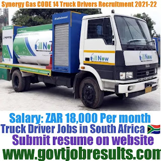 Synergy Gas CODE 14 Truck Driver Recruitment 2021-22