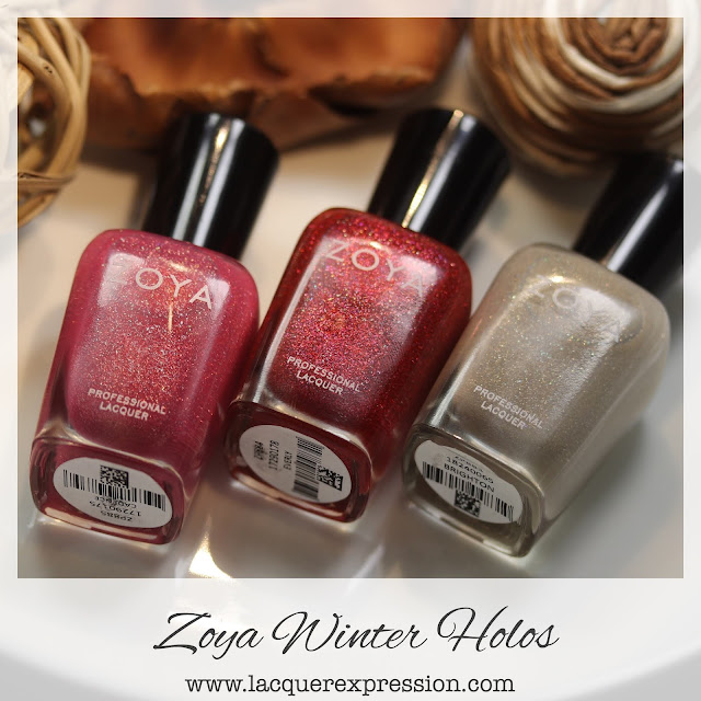 Nail polish trio of holographic polishes from the Winter Holo collection by Zoya