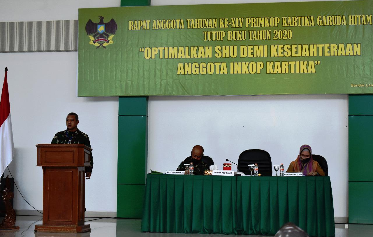 Danrem 043/Gatam Buka Secara Resmi Rapat Anggota Tahunan ( RAT ) Primkop Kartika Gatam Tutup Buku Tahun 2020.
