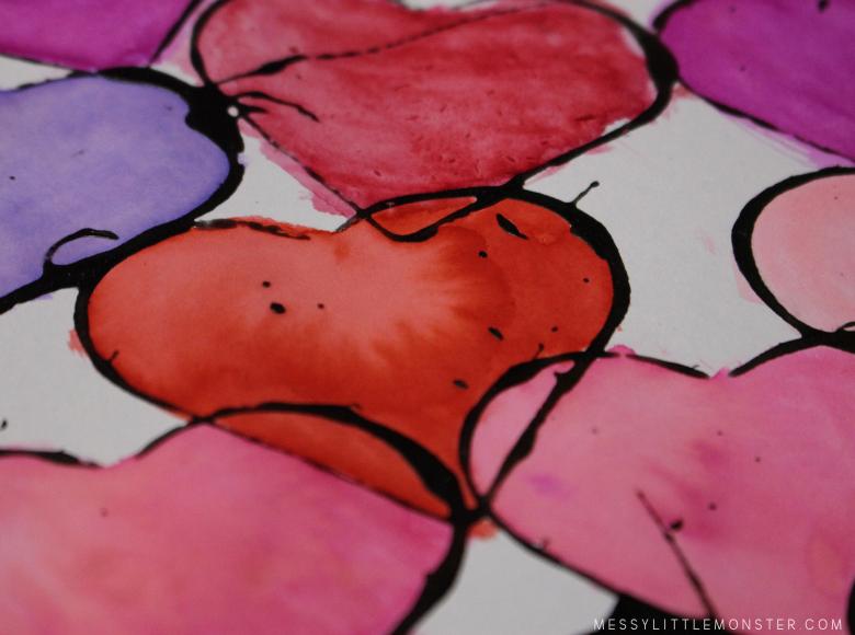 watercolor heart art project