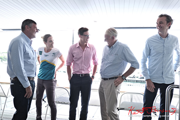 Ted Baldock of RCG & Sperry Australia The Australian Swim team athletes Ellie Cole & Mitch Larkin. Photo by Kent Johnson.
