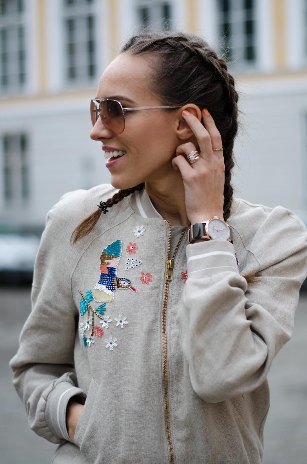 kristjaana mere embellished bomber jacket dutch braids spring trend