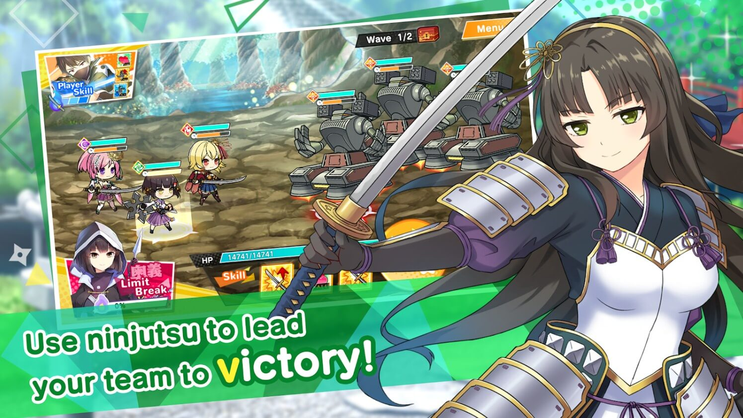 Moe! Ninja Girls RPG: SHINOBI gameplay