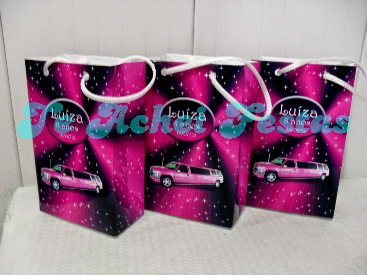 festa limousine rosa, brindes, lembrancinha limousine rosa, brinde limousine rosa, tema limousine rosa