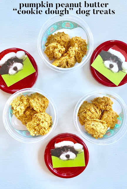 Pumpkin peanut butter cookie dough like dog treats in Christmas style containers.