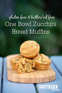 Healthy One Bowl Zucchini Bread Muffins Recipe - low fat, gluten free, sugar free, oil free, butter free, no added fat, healthy, nut free