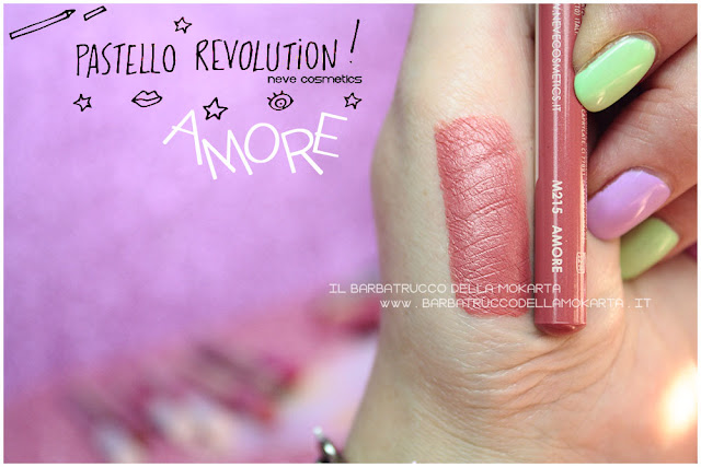 amore swatches BioPastello labbra Neve Cosmetics  pastello revolution