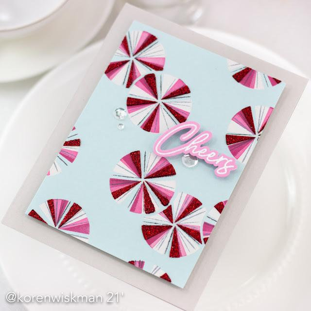 Pinkfresh Studio, Koren Wiskman, seamless starburst circle stencils, happy birthday sentiments, gina k designs, glitz glitter gel, red, mint, candy, clear sequins, cheers, greeting card, card maker, handmade card, pink, blue, white, gray