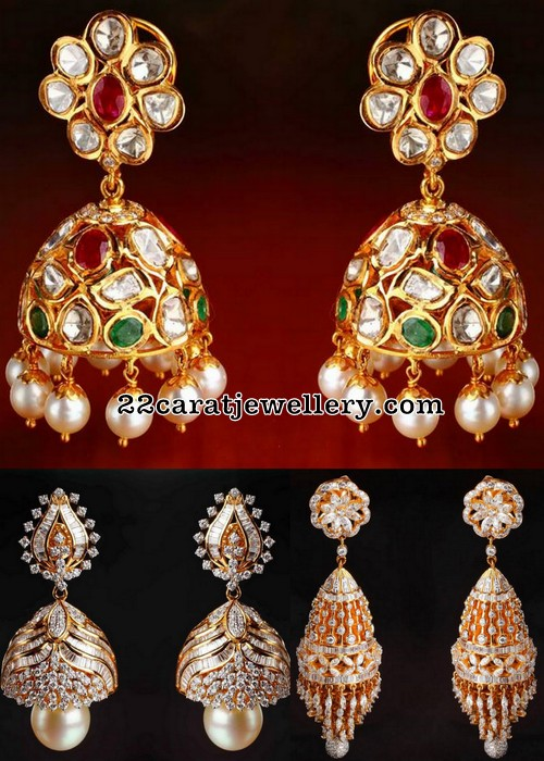 Pachi Work and Diamond Trendy Jhumkas