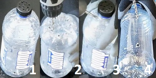 Drill holes in bottle