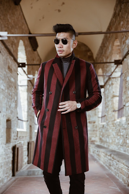 Leo Chan wearing a bold striped topcoat in Florence, Italy | Asian Model