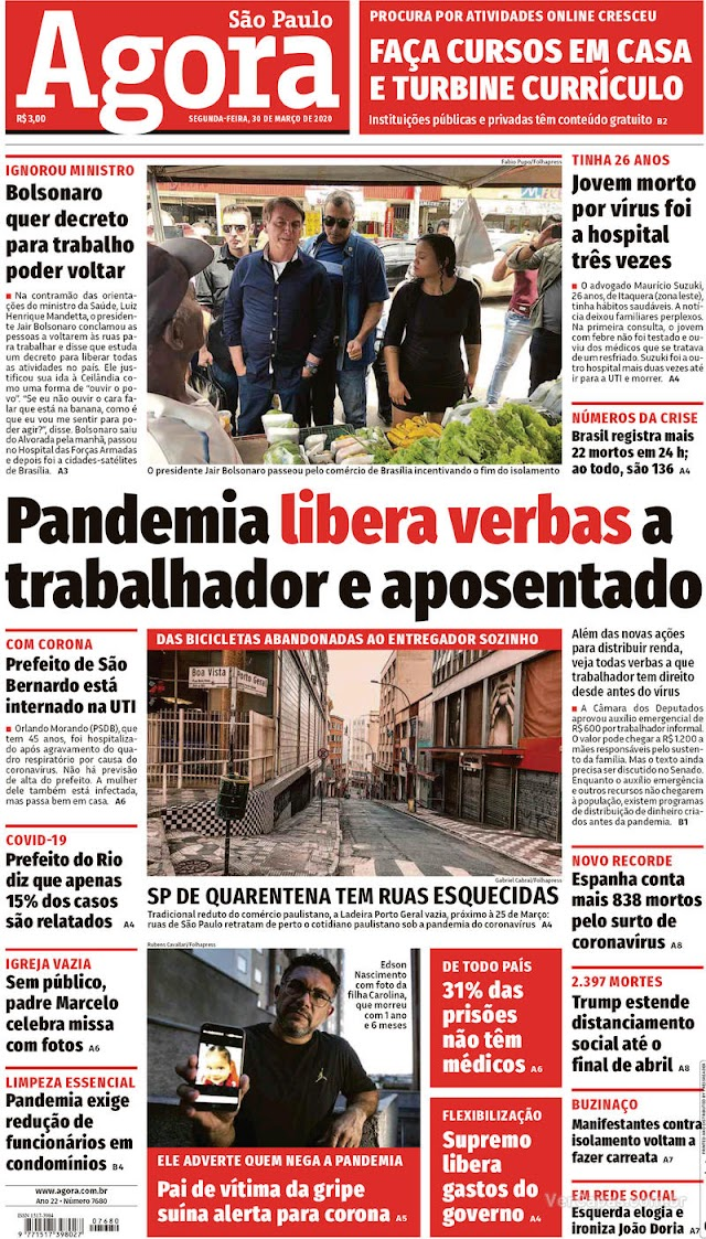 Manchetes dos jornais e destaques dos sites nesta segunda-feira, 30 de Março 2020