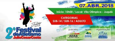"""Festival de Atletismo""""Julio César da Costa"""" será realizado em Juquiá."""