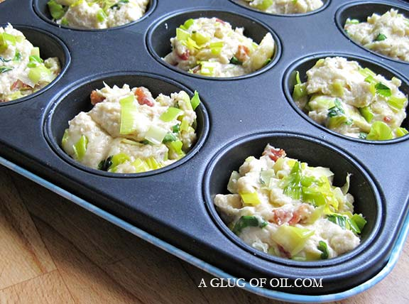 Leek and bacon muffins ready for the oven