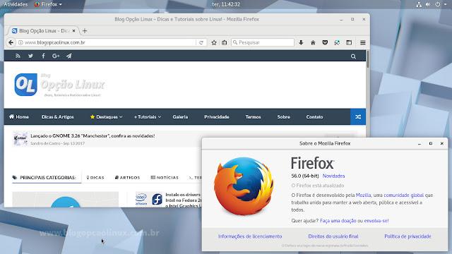 Mozilla Firefox (estável) executando no openSUSE Tumbleweed com ambiente de desktop GNOME