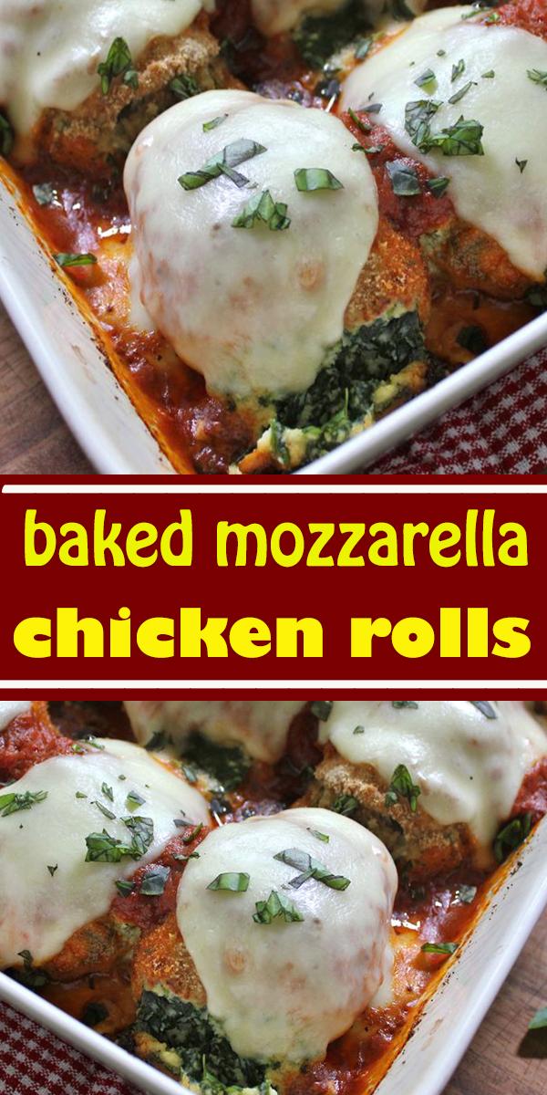 baked mozzarella chicken rolls #baked #mozzarella #chicken #rolls #dinner #bakedmozzarellachickenrolls