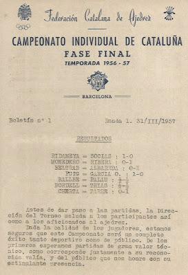 Portada del Boletín nº 1 del XXV Campeonato Individual de Catalunya 1957