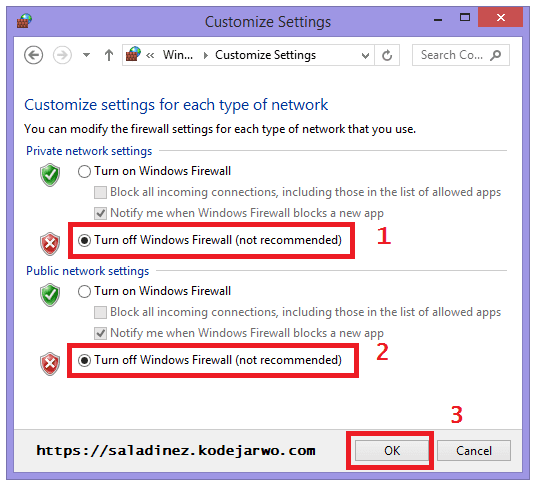 Cara mematikan Windows Firewall