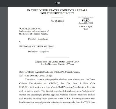 Does TCPA apply in federal court? - 5th Circuit says NO