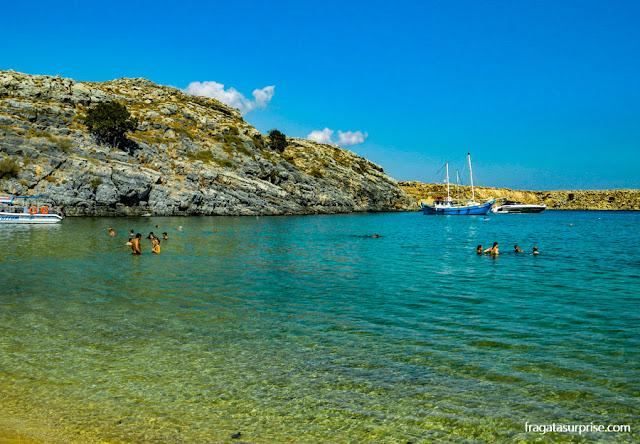 Praia de Megalós Gialós, Lindos, Grécia