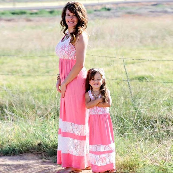New Mother Daughter Dresses Bow Plaid
