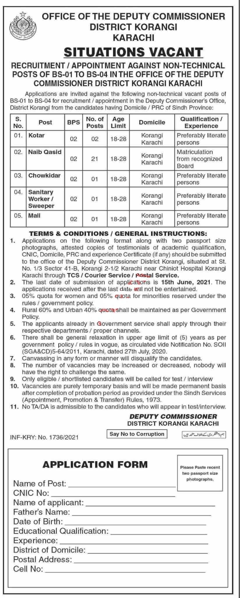 Deputy Commissioner DC District Korangi Karachi Jobs 2021
