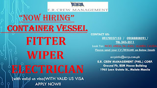 urgent job hiring for seaman in Philippines work at container ship join November - December 2018