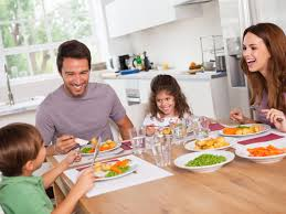 Family eating meals together