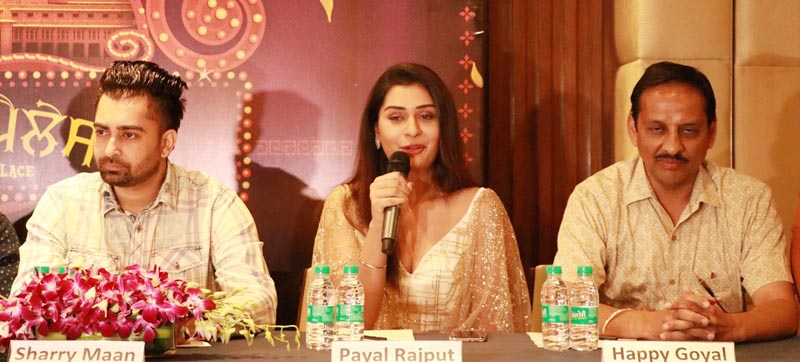 Actress Payal Rajout along with Actor Sharry Maan and Producer Happy Goyal talking to media persons in Chandigarh