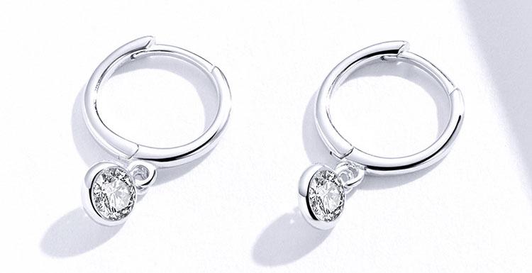 典雅單鑽鋯石 925純銀耳環