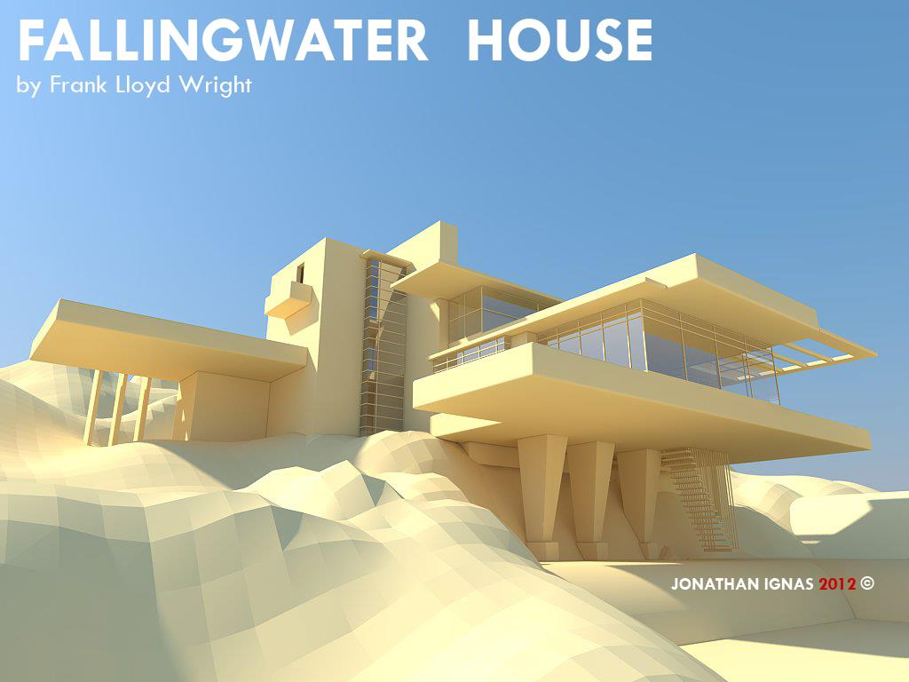 Fall Desktop Wallpaper Load Designanthology The Falling Water House By Frank Lloyd Wright