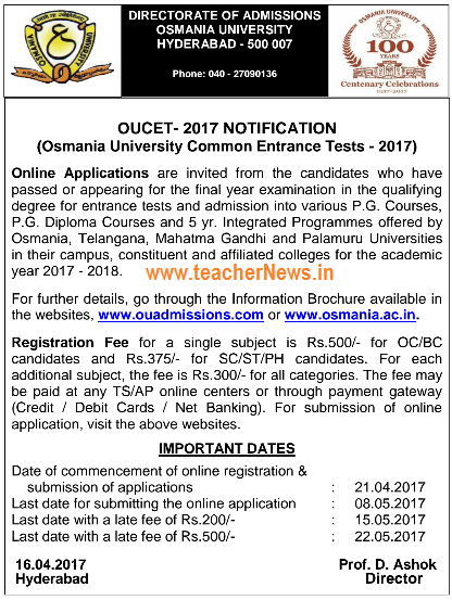 OUCET/ OU PGCET 2017 Online Apply for Osmania PG Entrance Test 2017 Notification